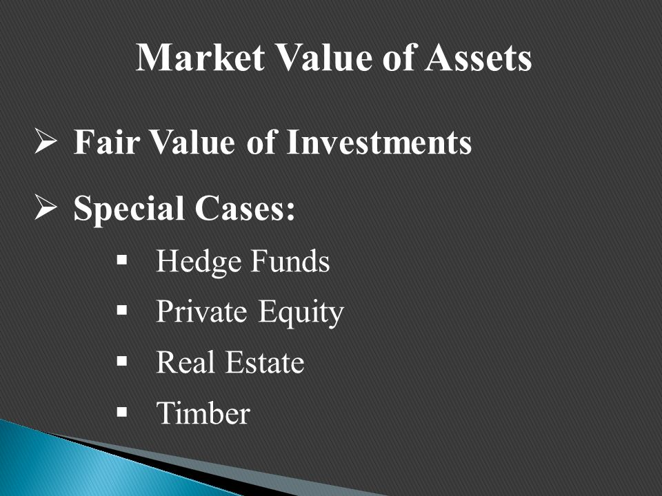 Market Value of Assets  Fair Value of Investments  Special Cases:  Hedge Funds  Private Equity  Real Estate  Timber