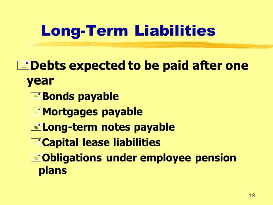 18 Current Liabilities +Obligations that are supposed to be paid within the coming year +Accounts payable +Wages payable +Notes (bank loans) payable +