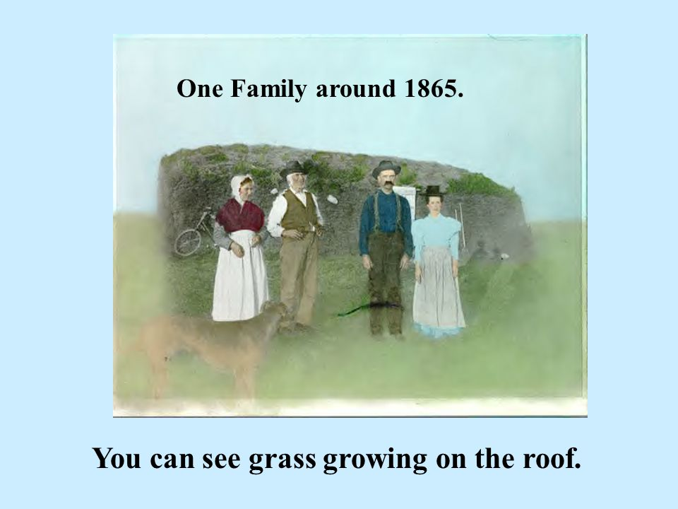 One Family around 1865. You can see grass growing on the roof.