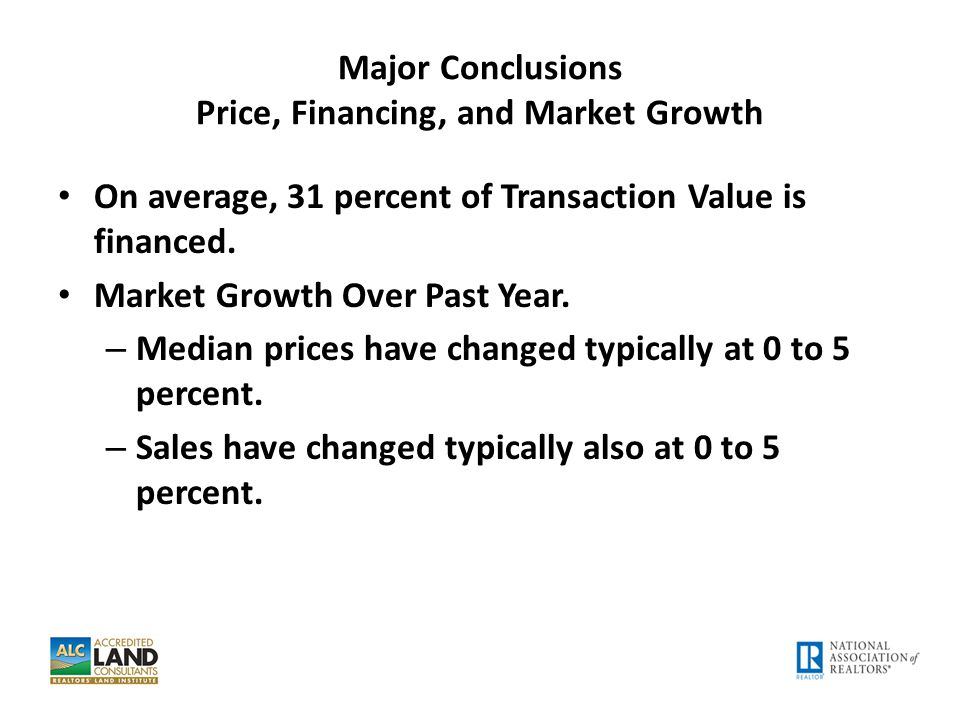 Major Conclusions Price, Financing, and Market Growth On average, 31 percent of Transaction Value is financed. Market Growth Over Past Year. – Median