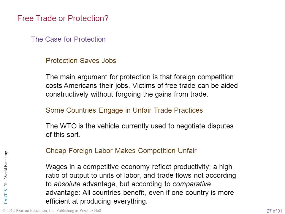 27 of 31 PART V The World Economy © 2012 Pearson Education, Inc. Publishing as Prentice Hall Free Trade or Protection? The Case for Protection Protect