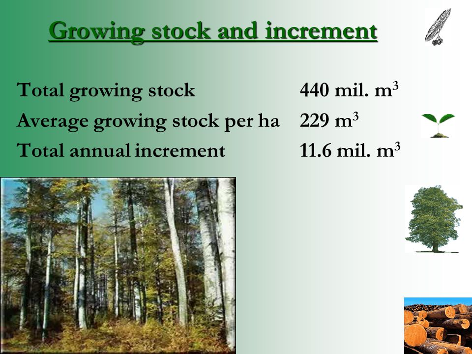 Growing stock and increment Total growing stock 440 mil.