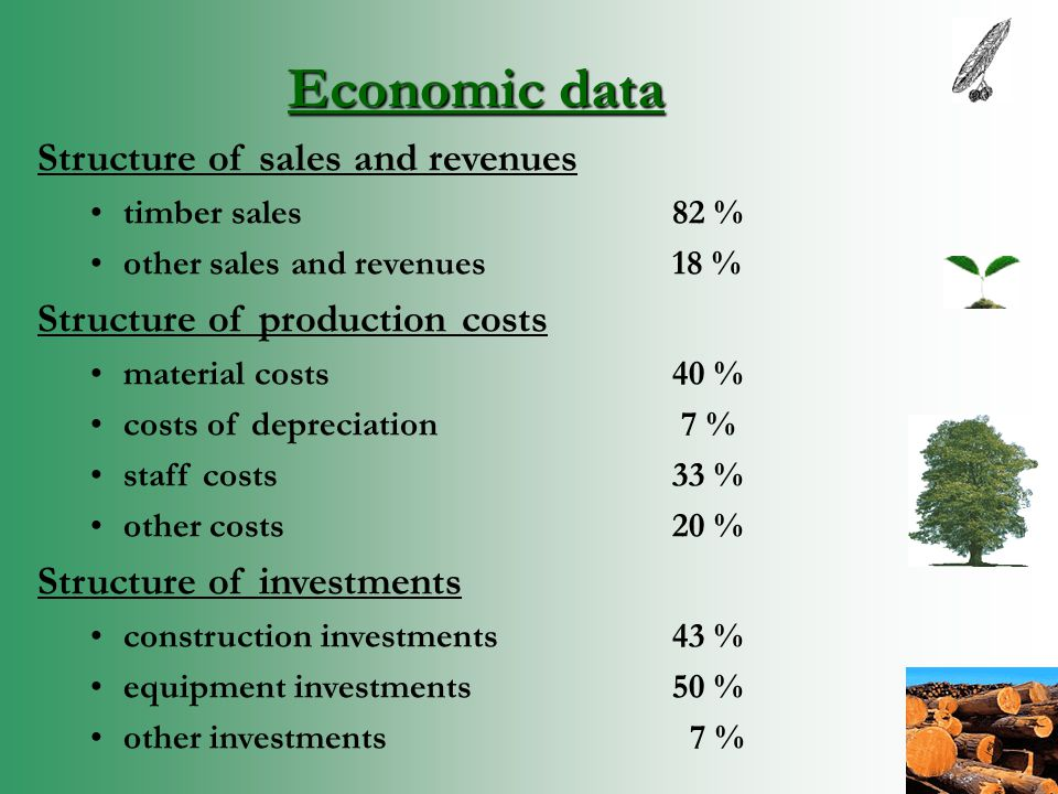 Economic data Structure of sales and revenues timber sales82 % other sales and revenues18 % Structure of production costs material costs40 % costs of