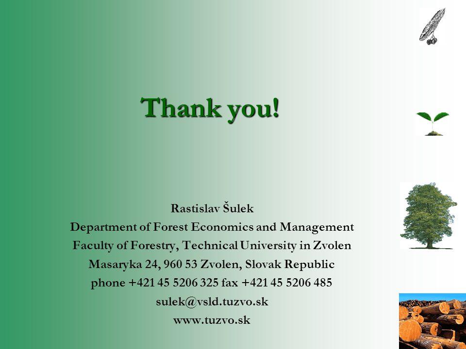 Thank you! Rastislav Šulek Department of Forest Economics and Management Faculty of Forestry, Technical University in Zvolen Masaryka 24, 960 53 Zvole