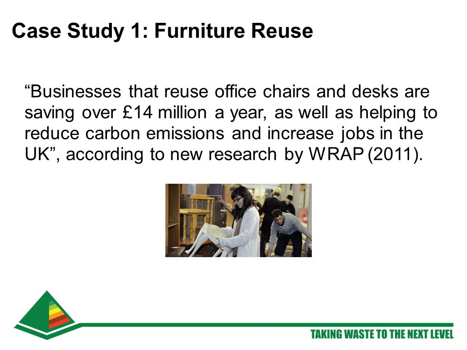 Businesses that reuse office chairs and desks are saving over £14 million a year, as well as helping to reduce carbon emissions and increase jobs in the UK , according to new research by WRAP (2011).