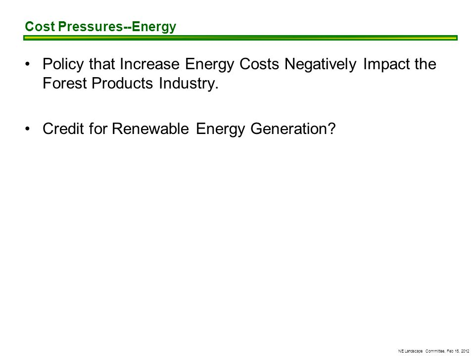 NE Landscape Committee, Feb 15, 2012 Policy that Increase Energy Costs Negatively Impact the Forest Products Industry.