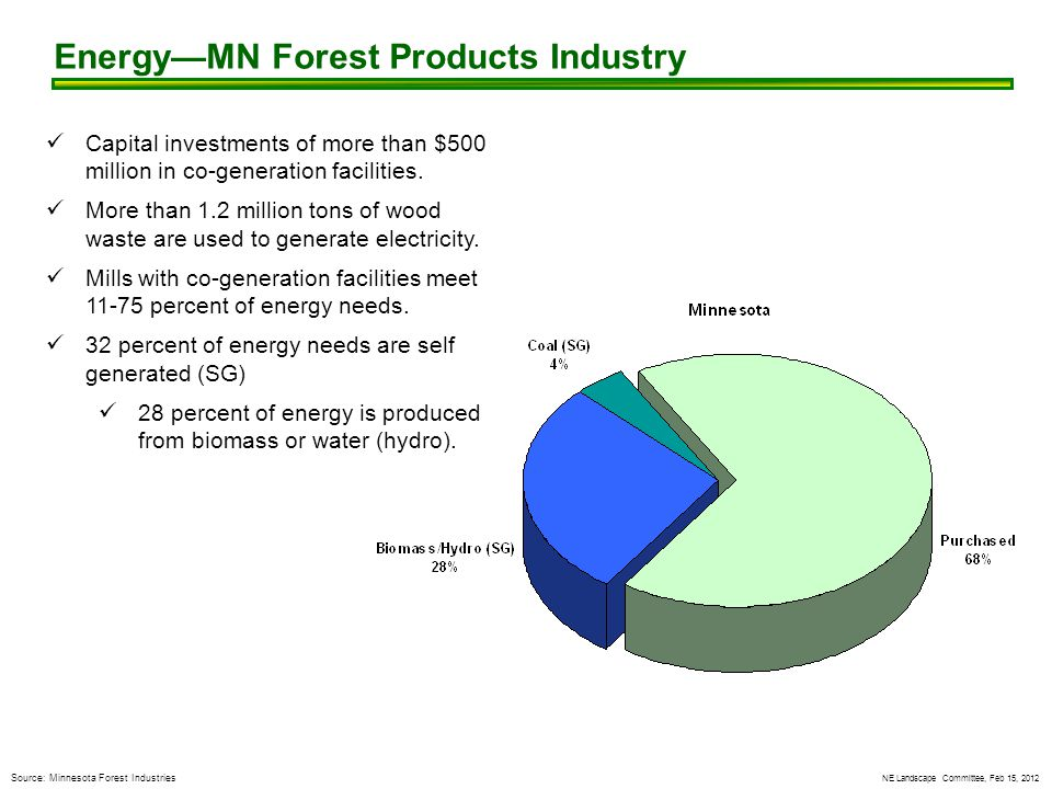 NE Landscape Committee, Feb 15, 2012 Source: Minnesota Forest Industries Energy—MN Forest Products Industry Capital investments of more than $500 million in co-generation facilities.