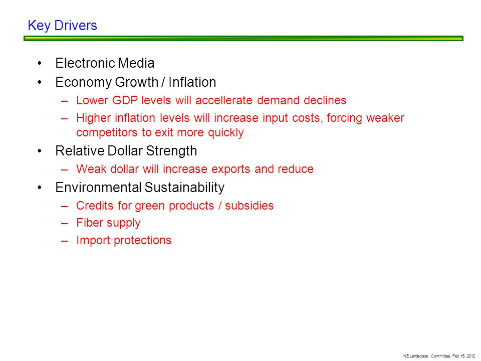 Electronic Media Economy Growth / Inflation –Lower GDP levels will accellerate demand declines –Higher inflation levels will increase input costs, forcing weaker competitors to exit more quickly Relative Dollar Strength –Weak dollar will increase exports and reduce Environmental Sustainability –Credits for green products / subsidies –Fiber supply –Import protections Key Drivers