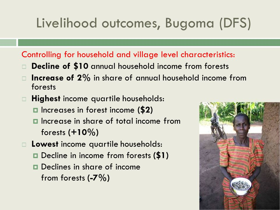 Livelihood outcomes, Bugoma (DFS) Controlling for household and village level characteristics:  Decline of $10 annual household income from forests  Increase of 2% in share of annual household income from forests  Highest income quartile households:  Increases in forest income ($2)  Increase in share of total income from forests (+10%)  Lowest income quartile households:  Decline in income from forests ($1)  Declines in share of income from forests (-7%)