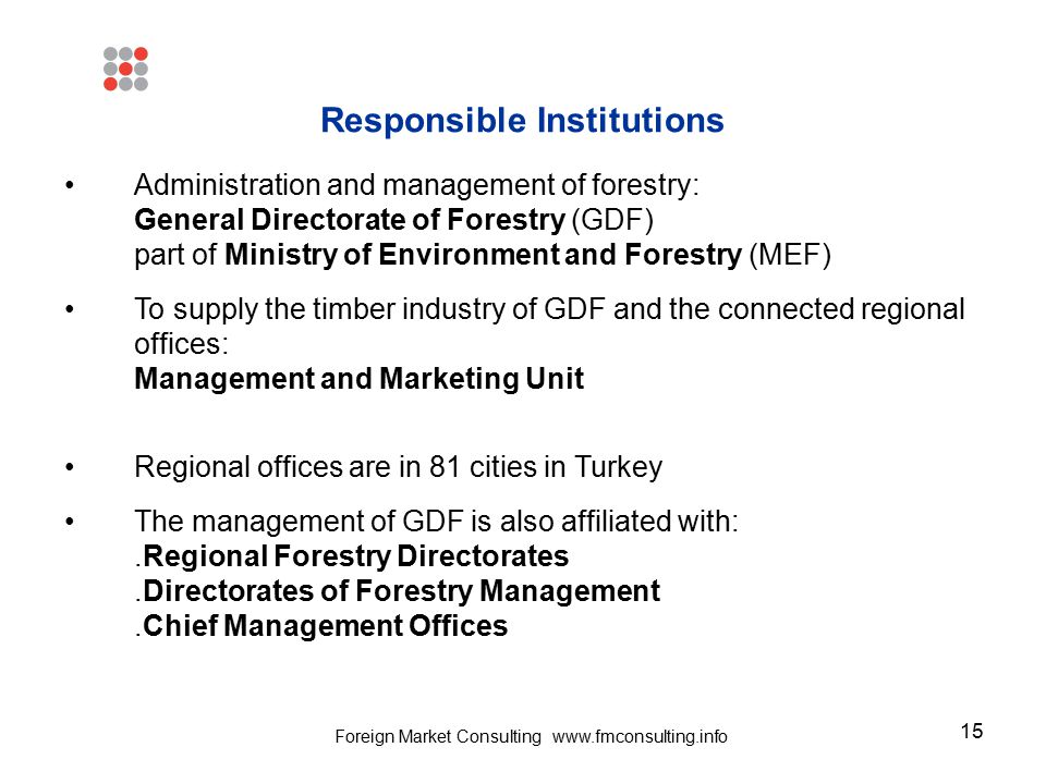 15 Responsible Institutions Administration and management of forestry: General Directorate of Forestry (GDF) part of Ministry of Environment and Fores