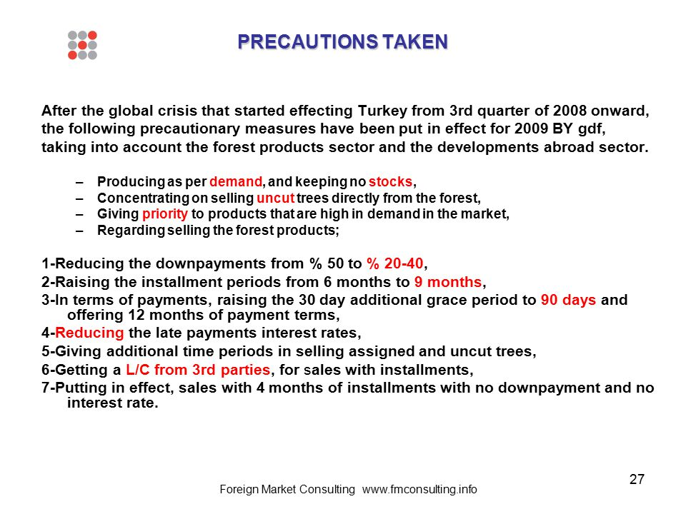 27 PRECAUTIONS TAKEN After the global crisis that started effecting Turkey from 3rd quarter of 2008 onward, the following precautionary measures have