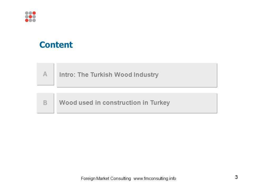 3 Intro: The Turkish Wood Industry B Wood used in construction in Turkey Content A Foreign Market Consulting www.fmconsulting.info