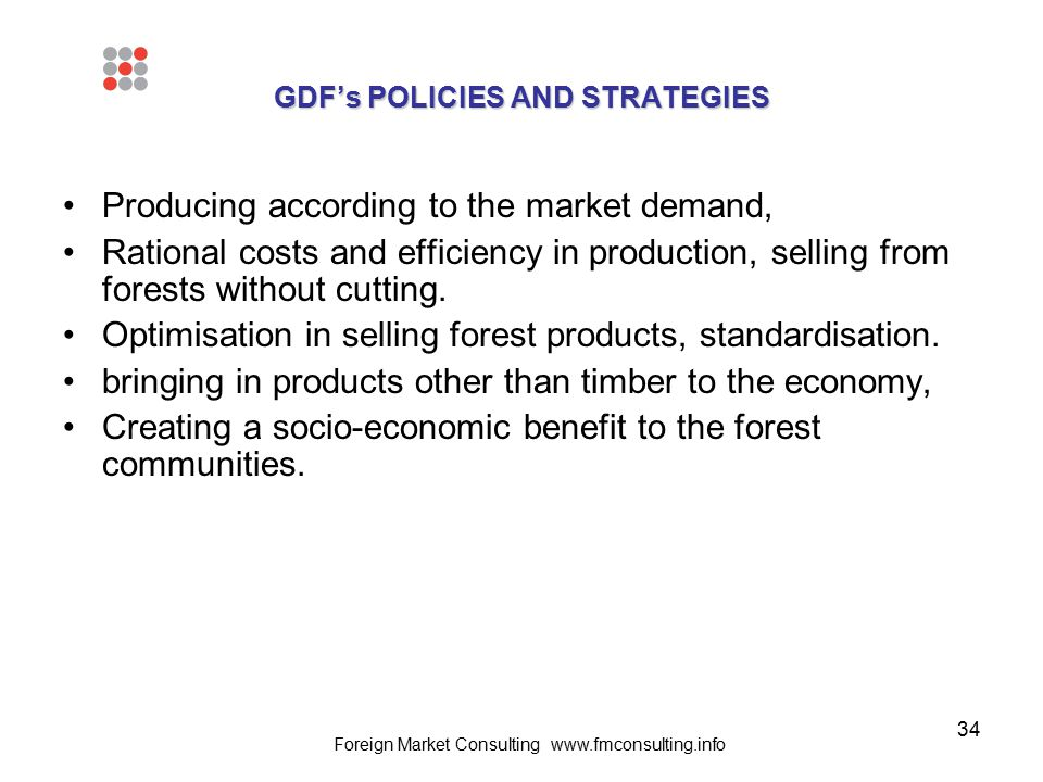 34 GDF's POLICIES AND STRATEGIES Producing according to the market demand, Rational costs and efficiency in production, selling from forests without c