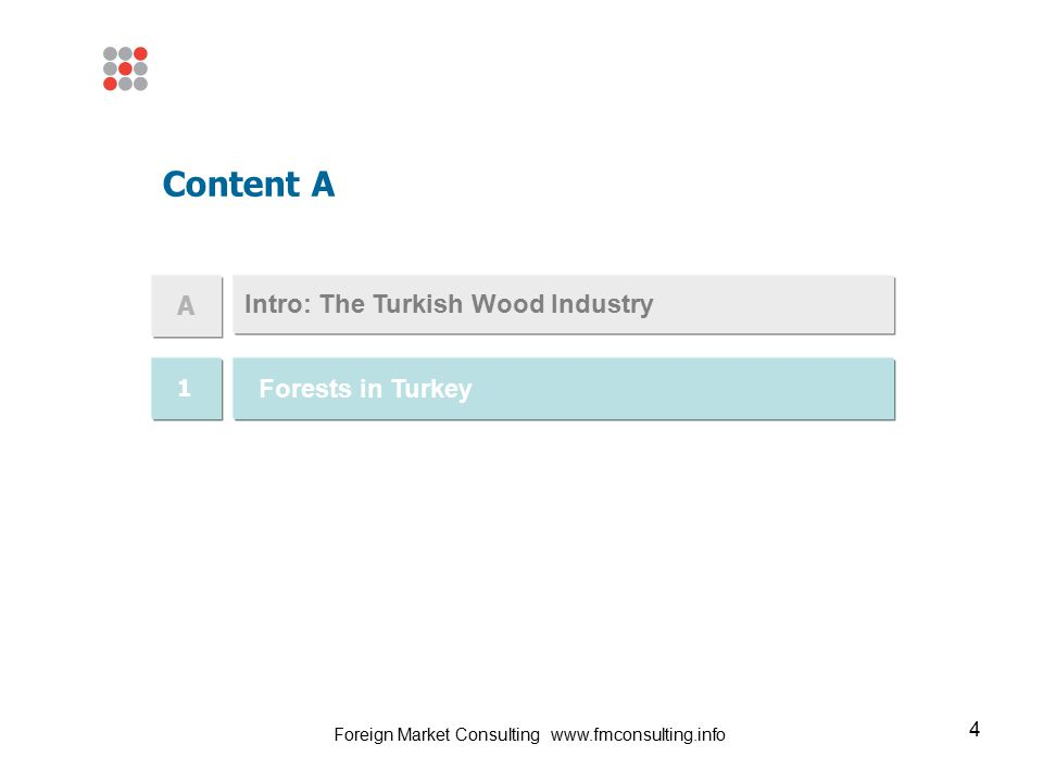 4 Intro: The Turkish Wood Industry Content A A 1 Forests in Turkey Foreign Market Consulting www.fmconsulting.info