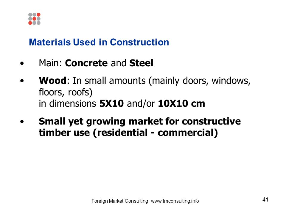 41 Materials Used in Construction Main: Concrete and Steel Wood: In small amounts (mainly doors, windows, floors, roofs) in dimensions 5X10 and/or 10X