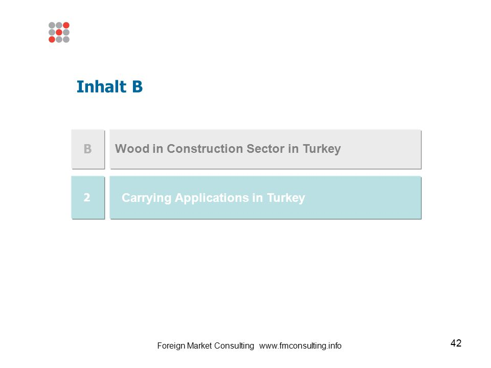 42 Wood in Construction Sector in Turkey Inhalt B B Carrying Applications in Turkey 2 Foreign Market Consulting www.fmconsulting.info