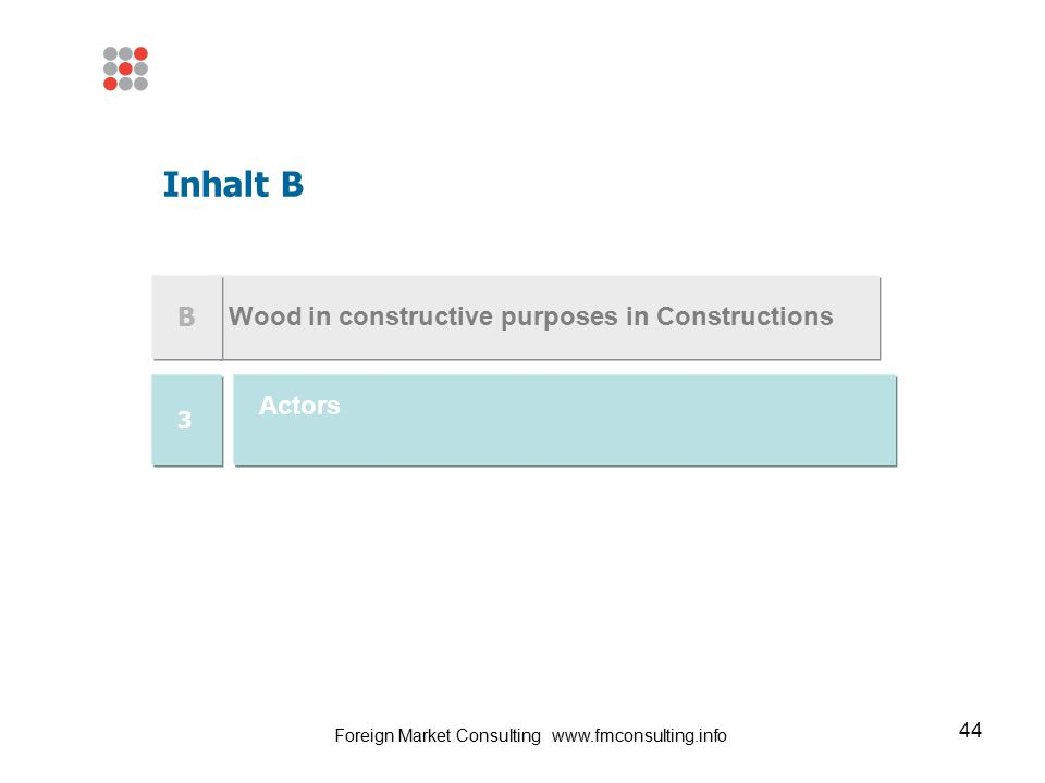 44 Wood in constructive purposes in Constructions Inhalt B B Actors 3 Foreign Market Consulting www.fmconsulting.info