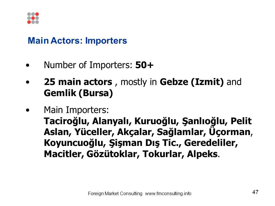 47 Number of Importers: 50+ 25 main actors, mostly in Gebze (Izmit) and Gemlik (Bursa) Main Importers: Taciroğlu, Alanyalı, Kuruoğlu, Şanlıoğlu, Pelit Aslan, Yüceller, Akçalar, Sağlamlar, Üçorman, Koyuncuoğlu, Şişman Dış Tic., Geredeliler, Macitler, Gözütoklar, Tokurlar, Alpeks.