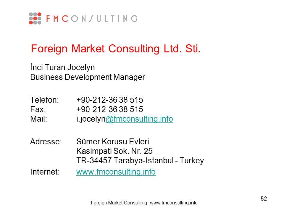 52 Foreign Market Consulting Ltd. Sti. İnci Turan Jocelyn Business Development Manager Telefon: +90-212-36 38 515 Fax: +90-212-36 38 515 Mail: i.jocel