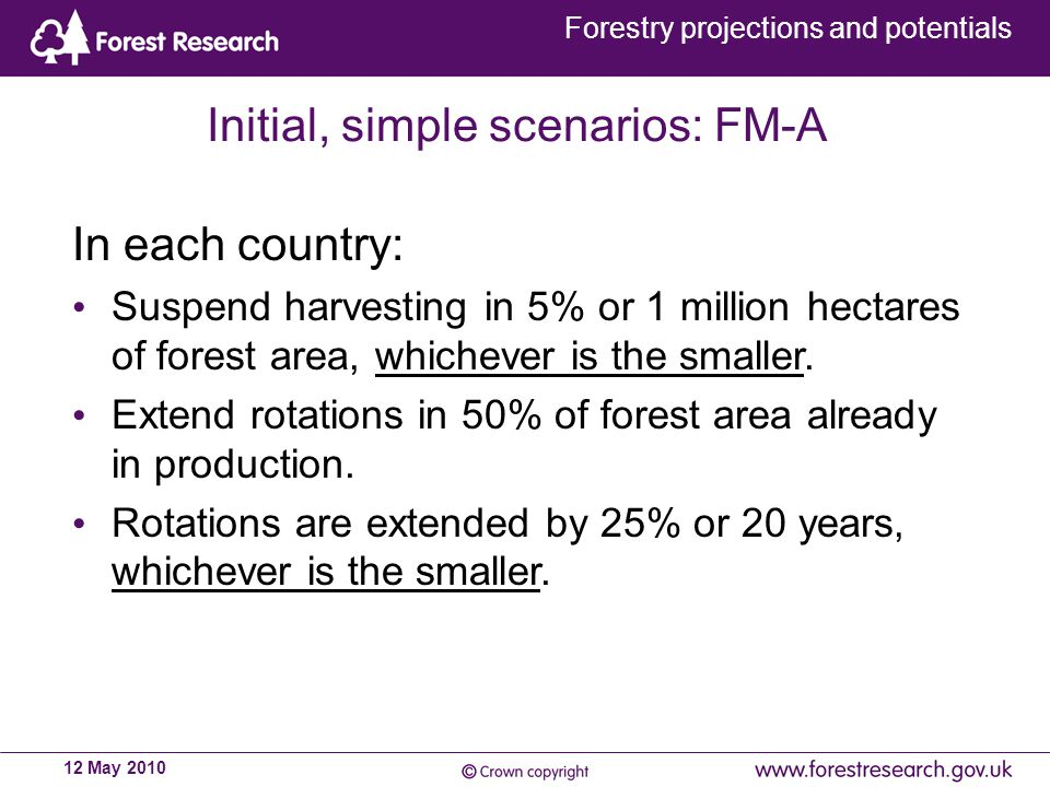 Forestry projections and potentials 12 May 2010 Initial, simple scenarios: FM-A In each country: Suspend harvesting in 5% or 1 million hectares of forest area, whichever is the smaller.