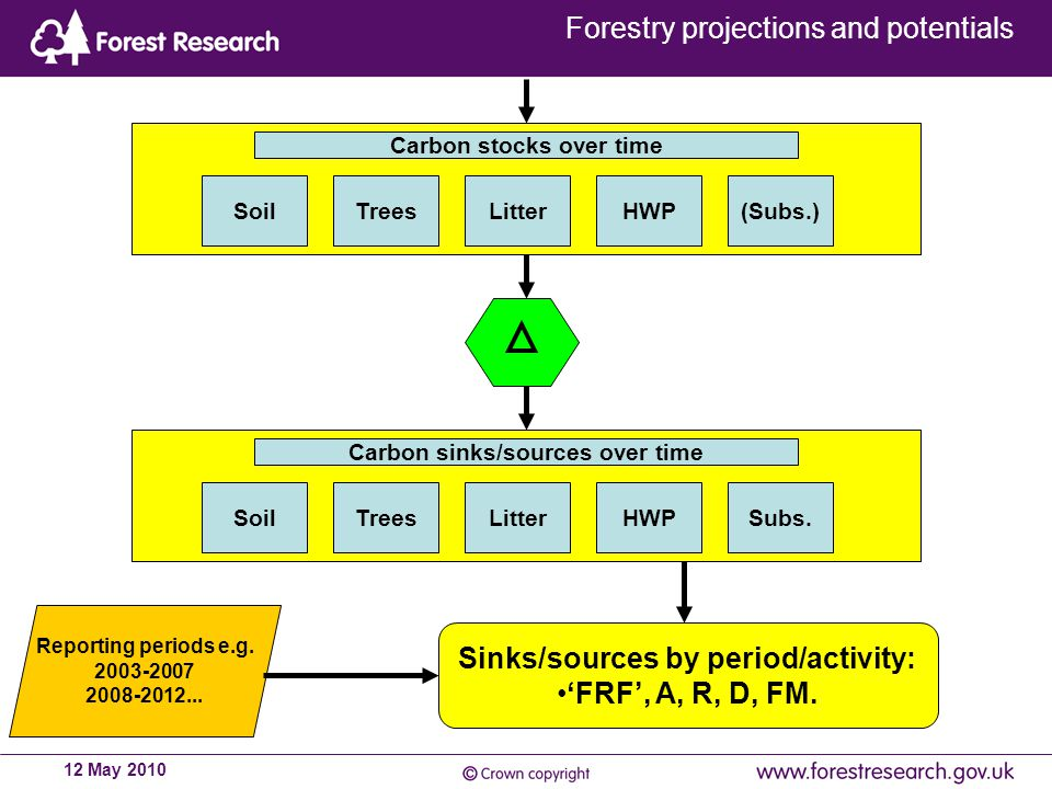 Forestry projections and potentials 12 May 2010 Carbon stocks over time SoilTreesLitterHWP(Subs.) Carbon sinks/sources over time SoilTreesLitterHWPSubs.