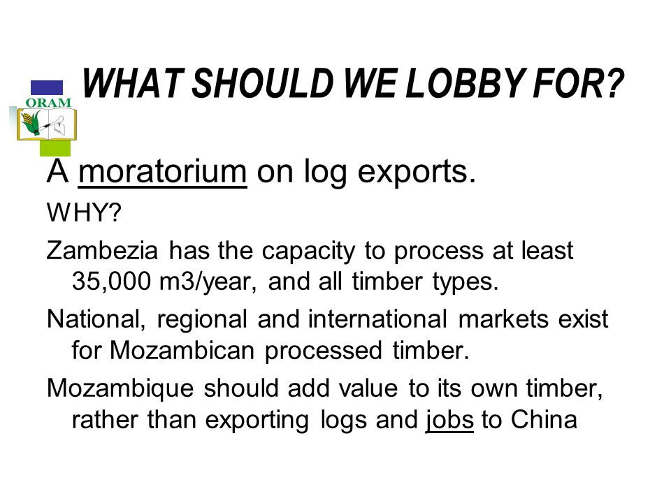 WHAT SHOULD WE LOBBY FOR. A moratorium on log exports.
