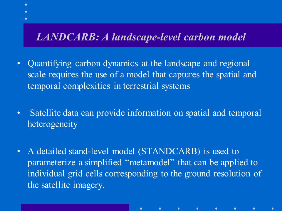 LANDCARB: A landscape-level carbon model Quantifying carbon dynamics at the landscape and regional scale requires the use of a model that captures the spatial and temporal complexities in terrestrial systems Satellite data can provide information on spatial and temporal heterogeneity A detailed stand-level model (STANDCARB) is used to parameterize a simplified metamodel that can be applied to individual grid cells corresponding to the ground resolution of the satellite imagery.