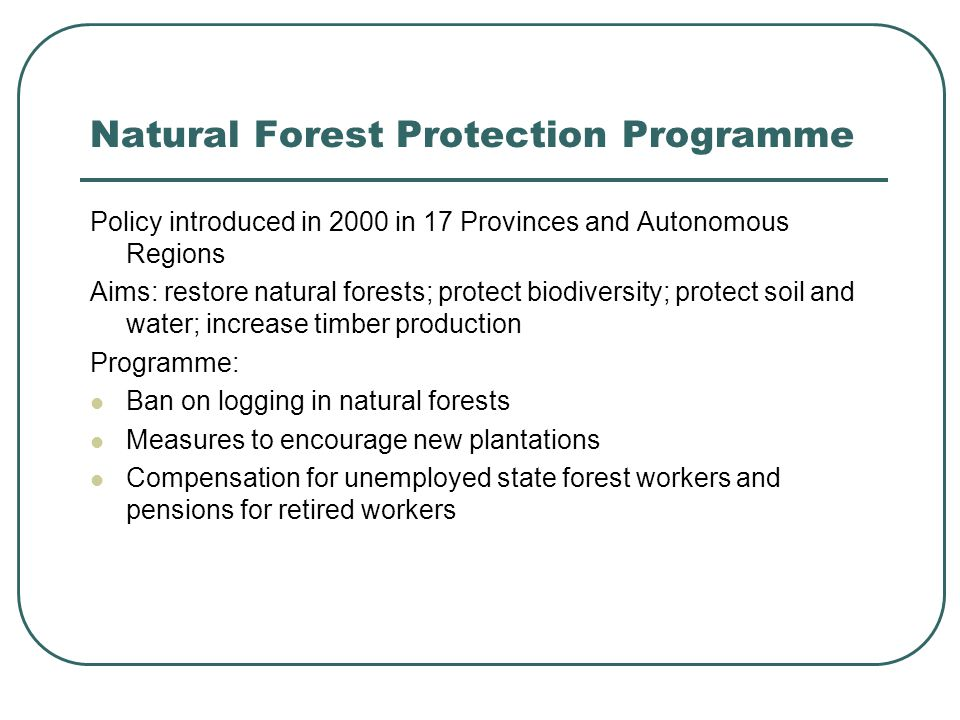 Previous studies on NFPP Programme generally accepted to have reduced timber harvesting (Xu et al, 2002; Demurger and Fournier, 2003), which is likely to have reduced soil erosion and improved water conservation (Yang, 2001).