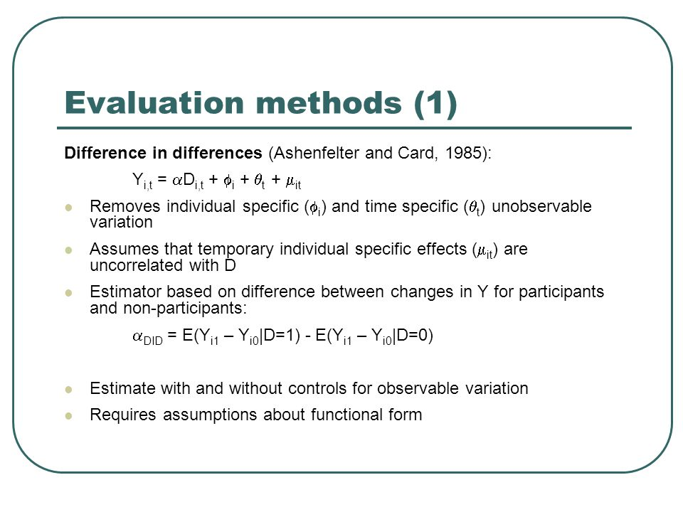 Evaluation methods (2) Matched DID (Heckman et al, 1997): Matching method creates counterfactual control sample with same observable characteristics as participants: outcome of each participant compared with weighted outcome of non-participants with similar characteristics  match =  i  {D=1} w N0, N1 (i) [ Q 1i -  j  {D=0} W N0, N1 (i, j) Q 0j ] Can match on X or on function of X: P(X) = Pr( D=1 | X) Matched DID uses same method as matching, but with Q i = Y i1 – Y i0 Controls for observable variation and time and individual specific unobservable variation