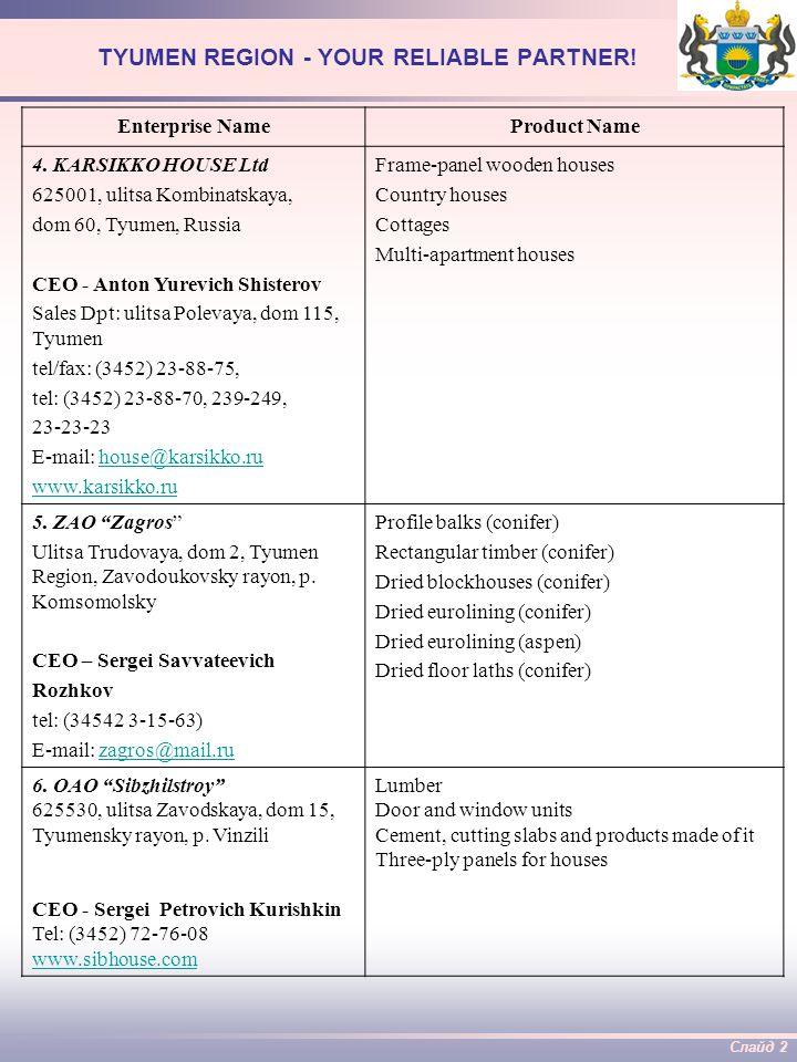 Слайд 3 TYUMEN REGION - YOUR RELIABLE PARTNER.Enterprise NameProduct Name 7.