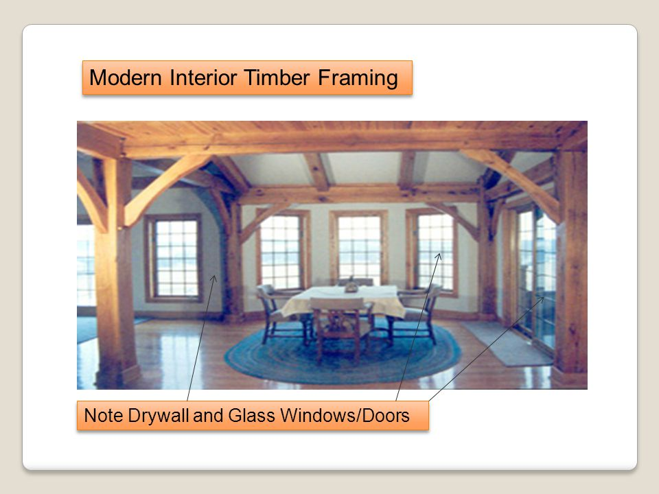 Modern Interior Timber Framing Note Drywall and Glass Windows/Doors
