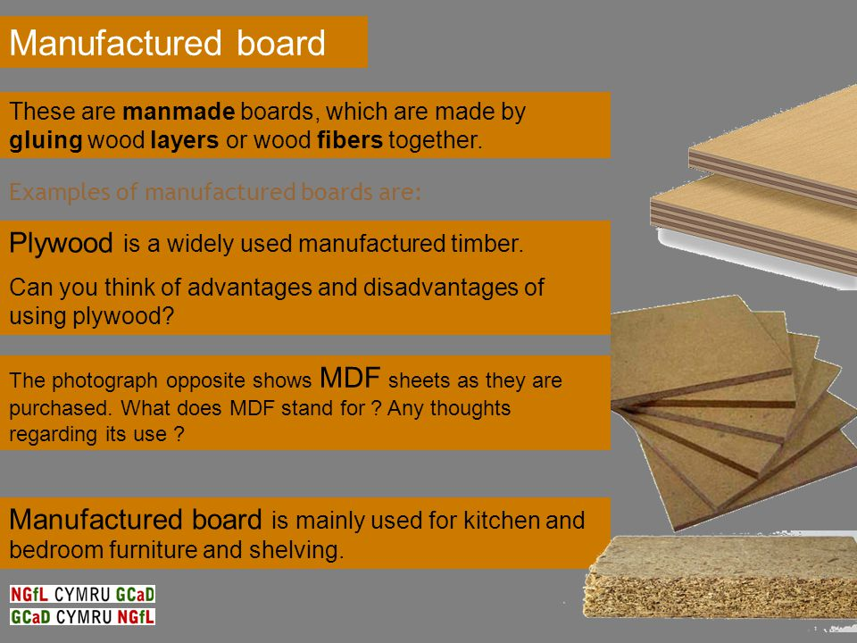 Manufactured board is mainly used for kitchen and bedroom furniture and shelving.