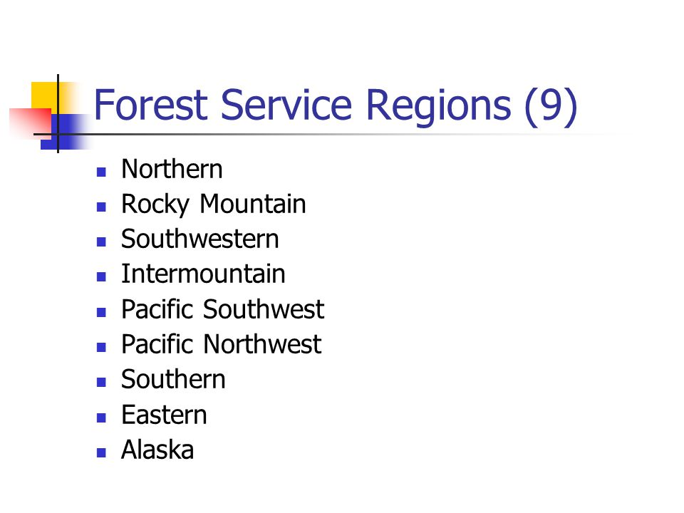 Forest Service Regions (9) Northern Rocky Mountain Southwestern Intermountain Pacific Southwest Pacific Northwest Southern Eastern Alaska
