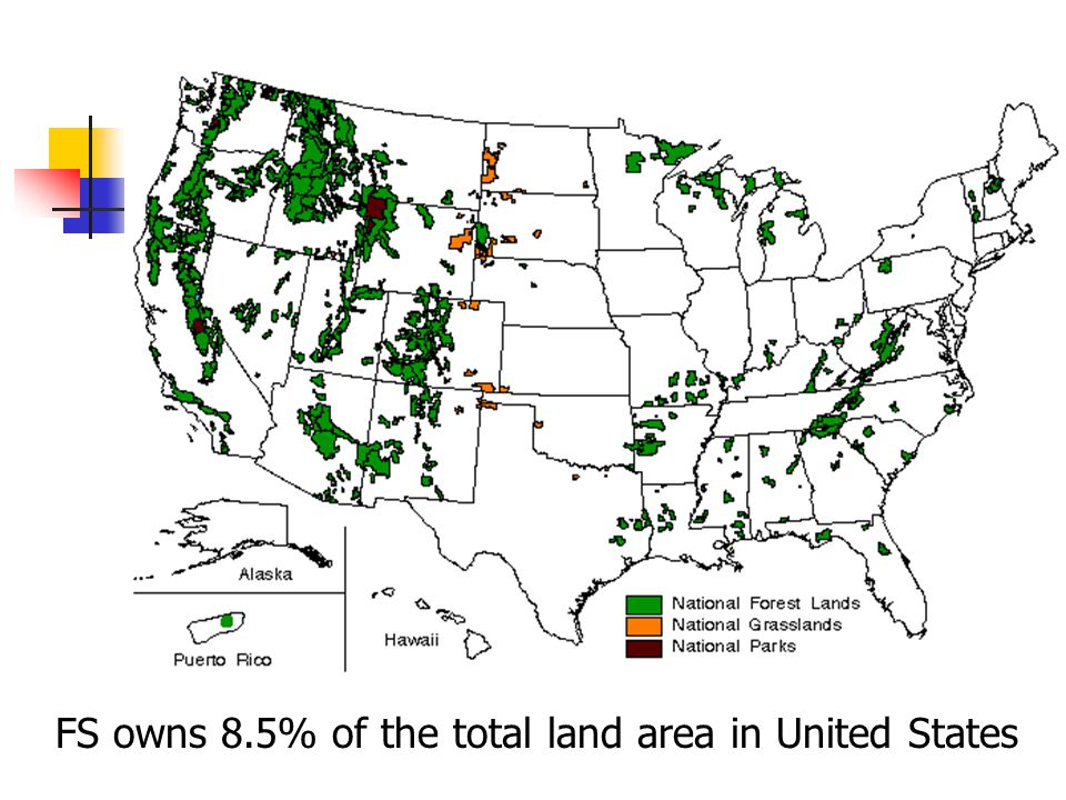 FS owns 8.5% of the total land area in United States