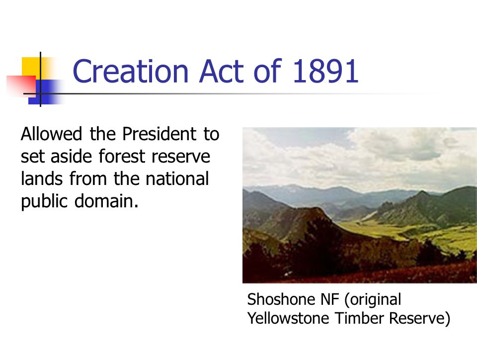 Creation Act of 1891 Allowed the President to set aside forest reserve lands from the national public domain.