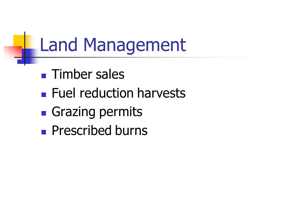 Land Management Timber sales Fuel reduction harvests Grazing permits Prescribed burns