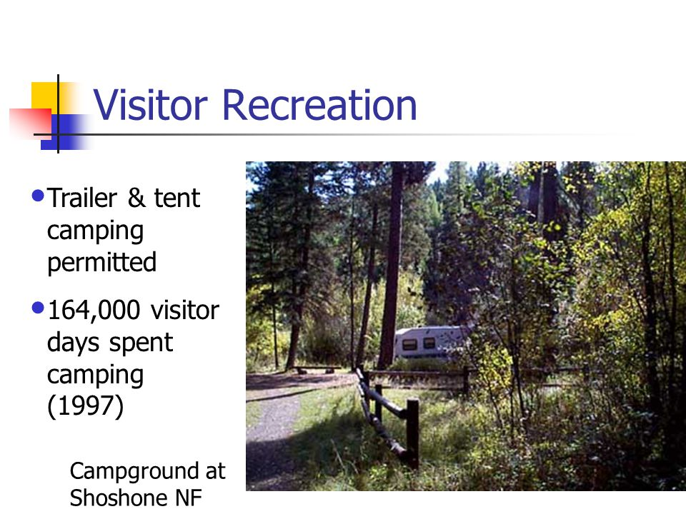 Visitor Recreation Campground at Shoshone NF Trailer & tent camping permitted 164,000 visitor days spent camping (1997)