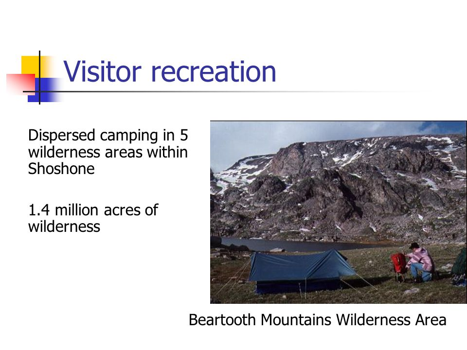 Visitor recreation Dispersed camping in 5 wilderness areas within Shoshone 1.4 million acres of wilderness Beartooth Mountains Wilderness Area