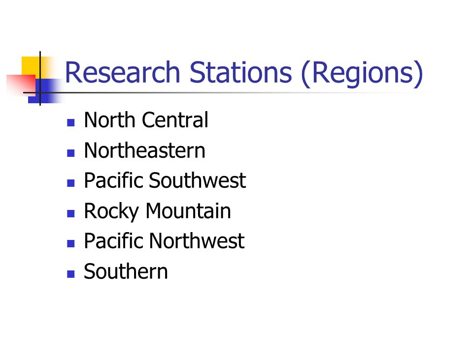 Research Stations (Regions) North Central Northeastern Pacific Southwest Rocky Mountain Pacific Northwest Southern