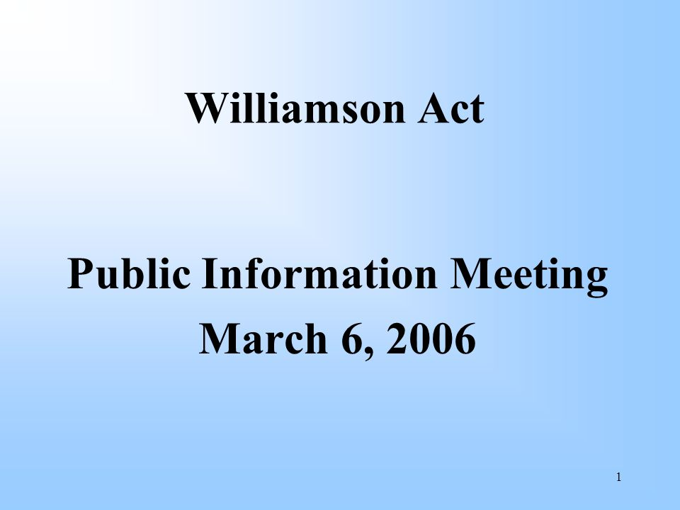 2 Topics General Williamson Act Principles Agricultural Preserve Map Guideline for Commercial Agriculture Guideline for Compatible Use Development Non-Renewal Procedures – Substandard Parcels Open Space Easements General Administration, Monitoring & Enforcement