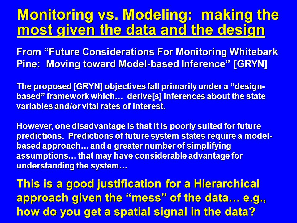 From Future Considerations For Monitoring Whitebark Pine: Moving toward Model-based Inference [GRYN] The proposed [GRYN] objectives fall primarily under a design- based framework which… derive[s] inferences about the state variables and/or vital rates of interest.