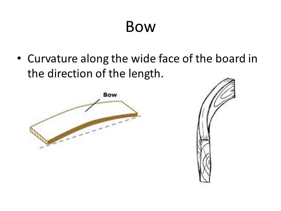 Bow Curvature along the wide face of the board in the direction of the length.