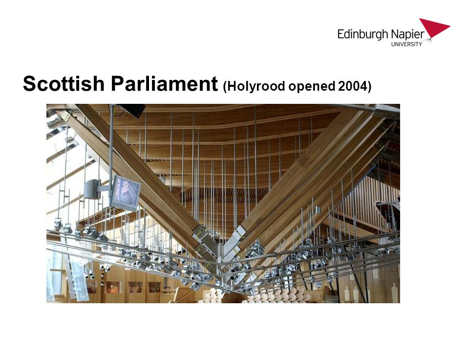 Scottish Parliament (Holyrood opened 2004)