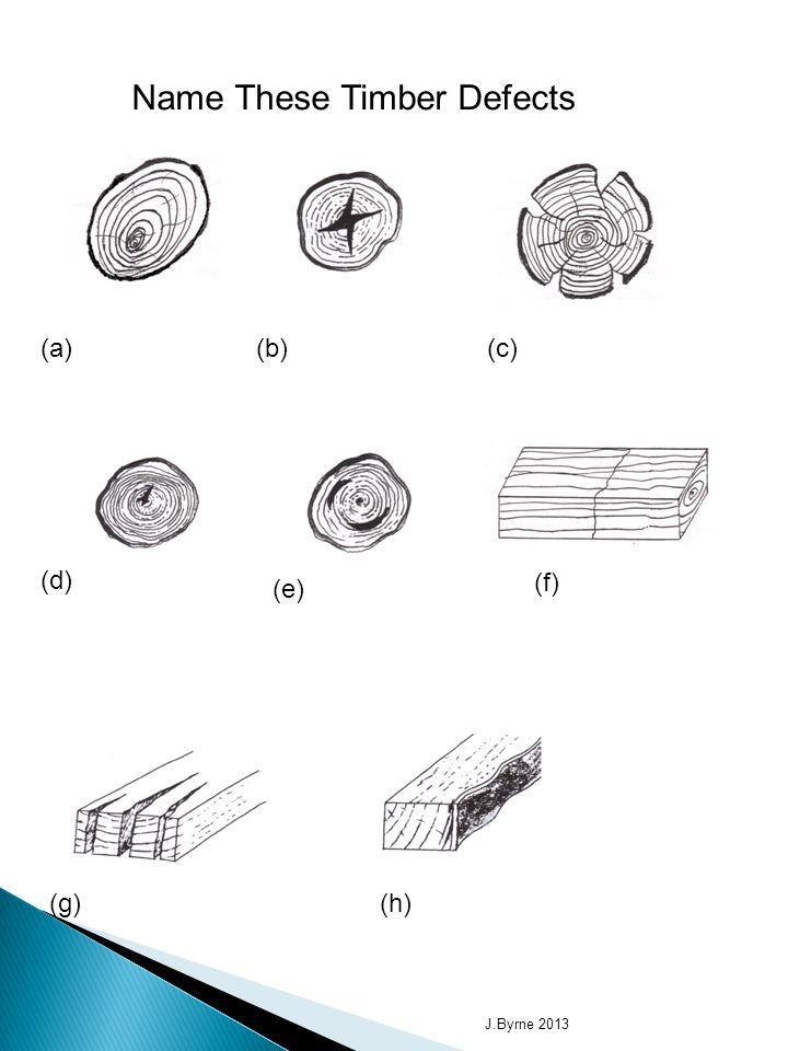 Name These Timber Defects (a) Wandering Heart (b) Star Shake(c) Radial Shake (d) Heart Shake (e) Cup Shake (f) Thunder Shake (g) End Splits(h) Waney Edge J.Byrne 2013