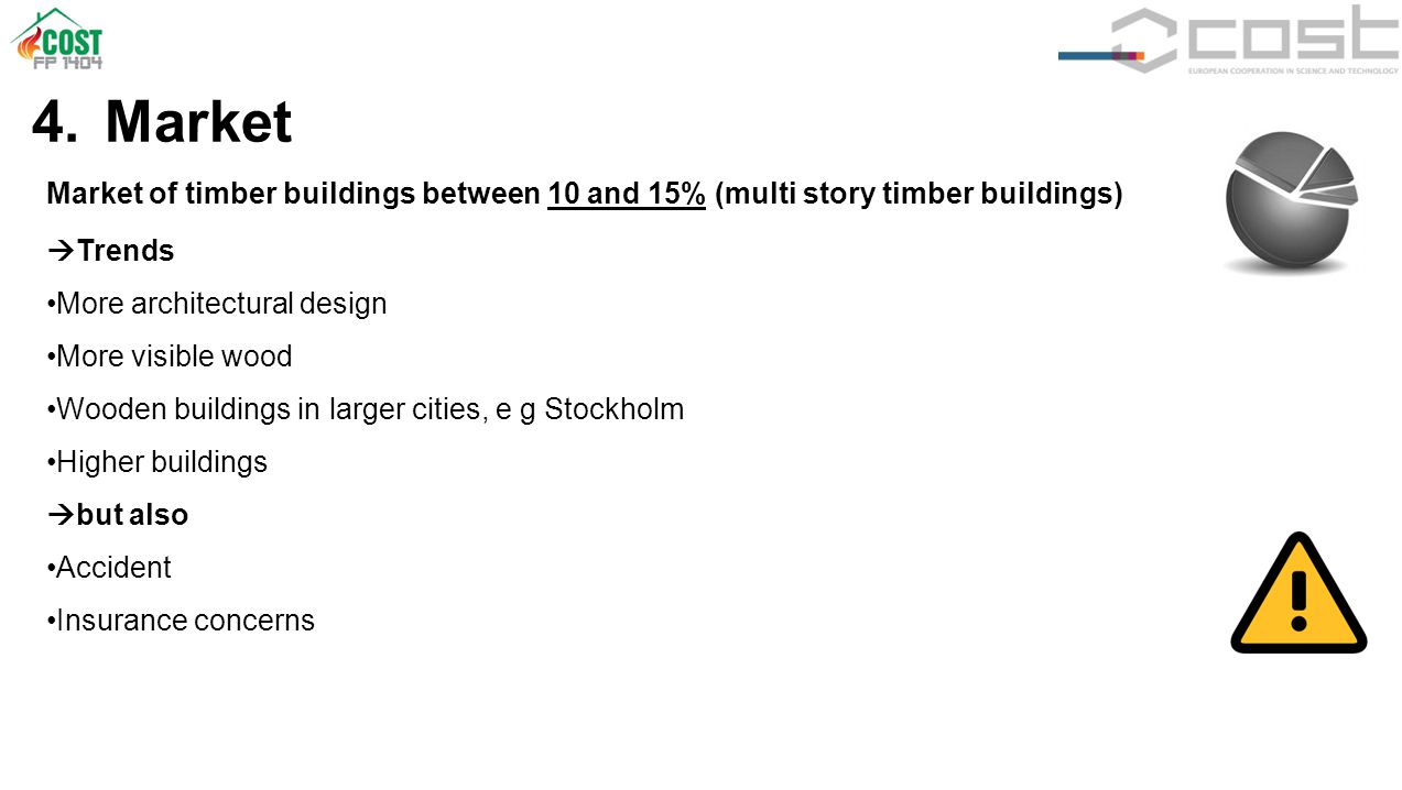 4. Market Market of timber buildings between 10 and 15% (multi story timber buildings)  Trends More architectural design More visible wood Wooden bui