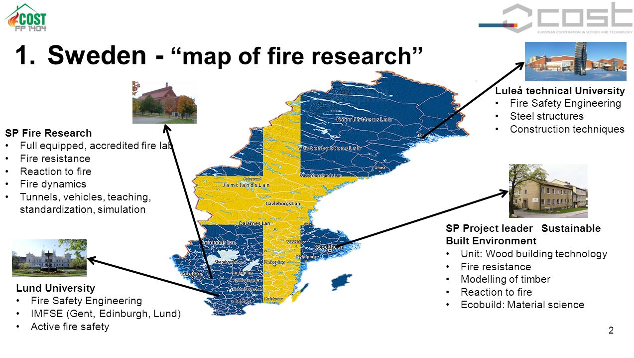 """2 1. Sweden - """"map of fire research"""" SP Fire Research Full equipped, accredited fire lab Fire resistance Reaction to fire Fire dynamics Tunnels, vehic"""