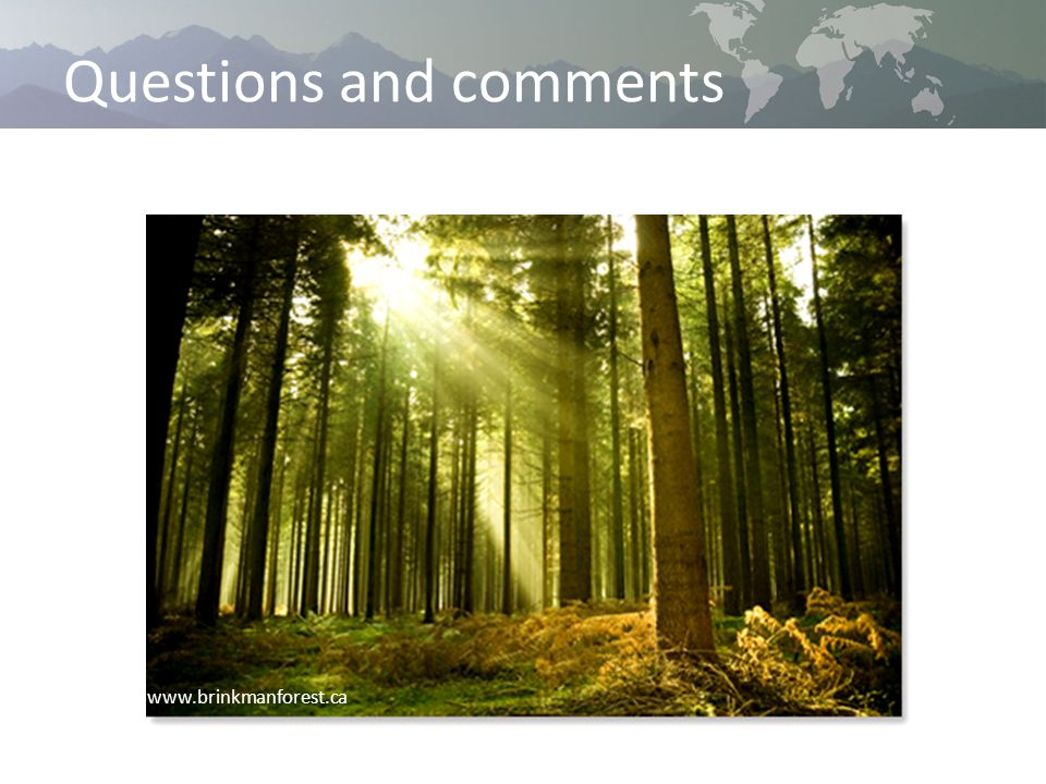 Questions and comments www.brinkmanforest.ca