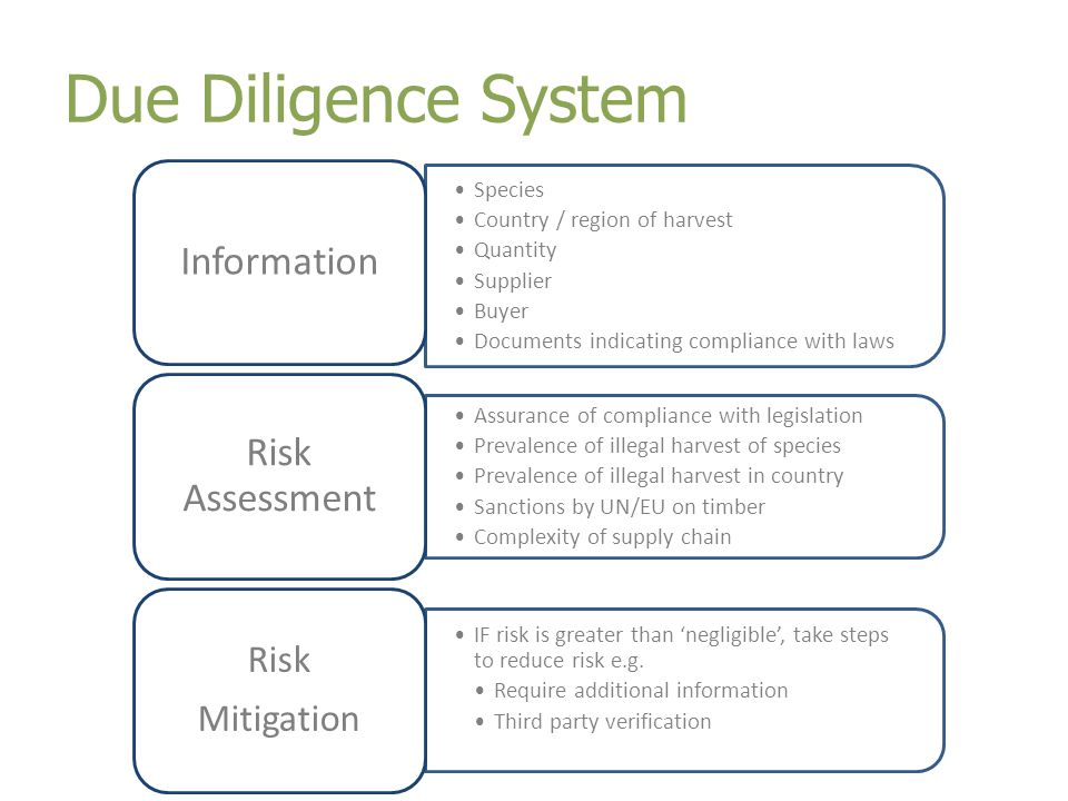 Due Diligence System Species Country / region of harvest Quantity Supplier Buyer Documents indicating compliance with laws Information Assurance of compliance with legislation Prevalence of illegal harvest of species Prevalence of illegal harvest in country Sanctions by UN/EU on timber Complexity of supply chain Risk Assessment IF risk is greater than 'negligible', take steps to reduce risk e.g.