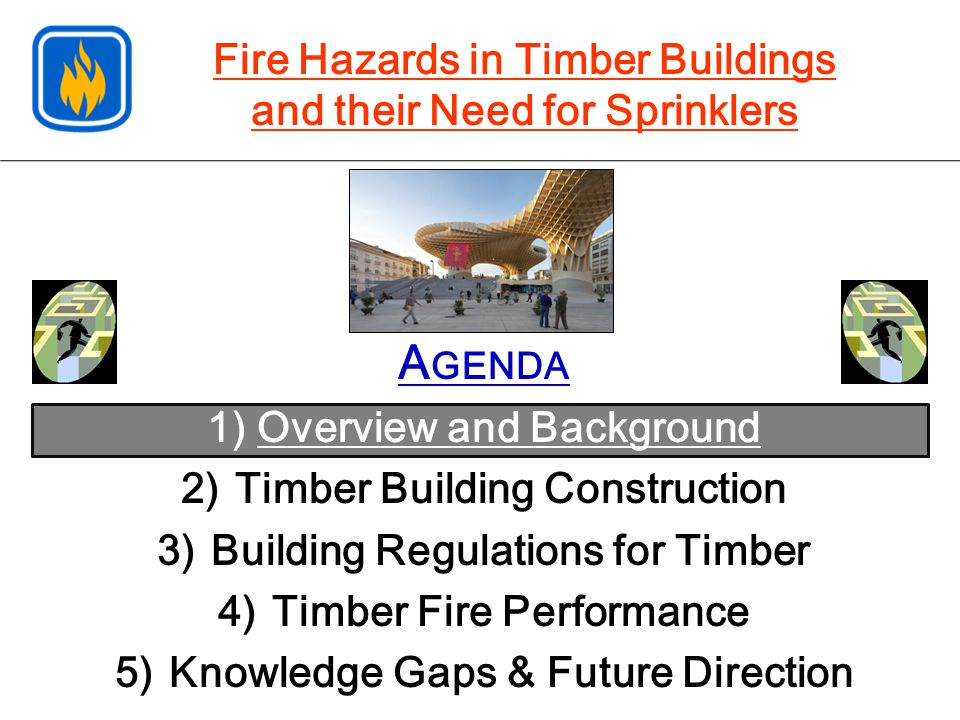 A GENDA 1) Overview and Background 2)Timber Building Construction 3)Building Regulations for Timber 4)Timber Fire Performance 5)Knowledge Gaps & Futur