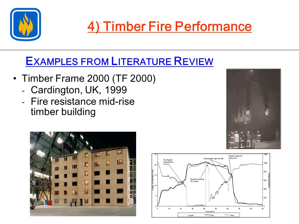 E XAMPLES FROM L ITERATURE R EVIEW Timber Frame 2000 (TF 2000) - Cardington, UK, 1999 - Fire resistance mid-rise timber building 4) Timber Fire Performance